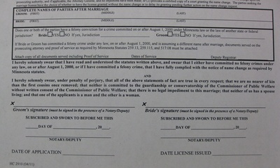 Marriage License Application form groom and bride