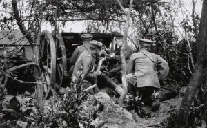 18 Pounder Field Gun of 120th Field Battery, Royal Field Artillery in Action During 1915