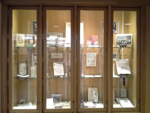 Photo of the exhibit on Professor Granovsky on display at Andersen Library.