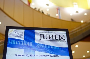 """Banner welcoming visitors to the """"Juhla!"""" exhibit at the Andersen Library."""