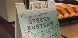 Stress Busters events at the Bio-Medical Library.