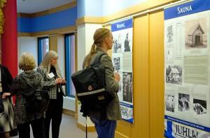 "Visitors enjoy the ""Juhla!"" exhibit at the Andersen Library."