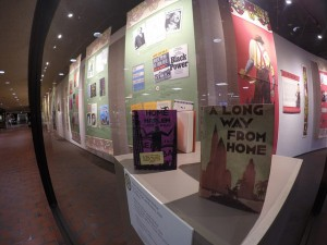 Photo of books and posters from the Bibliophilia exhibit at Hennepin Gallery