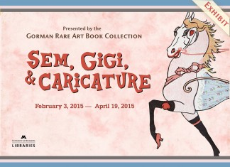 Poster image for Sem, Gigi, and Caricature featuring detail of Sem au Bois image: pink horse wearing make up, stockings and high heeled shoes