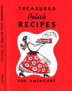 "Cover of ""Treasured Polish Recipes"" with a drawing of a woman holding a tray of steaming food."