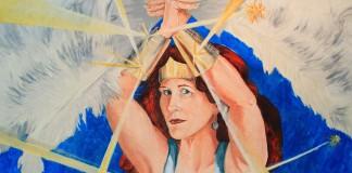 "Radiation Diva – Jill Stanton, by Barbara Porwit. 43"" x 36"" Oil on canvas, 2013. (Photo by Doug Webb)"