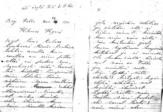 Two handwritten pages of the letter from Bert Aalto to Hilma Aerila, 1911.