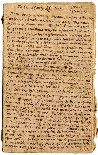 One page of the handwritten letter from Jozef Kostlan, 1863.