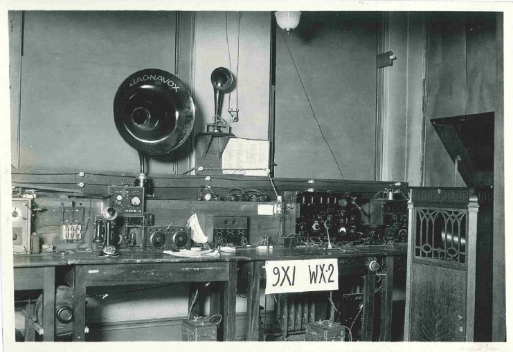 The radio station inside the old Engineering Building displaying transmitting equipment, 1920.