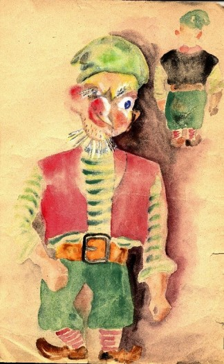 Sketch of a character from Oskar Seliaru's original puppet production, See oli unenägu. The sketch shows the front of the puppet, which has a distorted face and wears a red vest with a green hat and green gaucho pants. The back of the puppet is included in the upper right hand corner of the drawing. The puppet has bushy white eyebrows and a scruffy beard. The drawing was created in the Augsburg (Germany) Displaced Persons Camp, circa 1946.