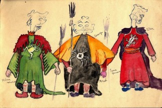 Sketches of three puppets. The bodies are in full color but the heads are only drawn in outlines. There are notes, written in Estonian, to confirm color selections. The three male puppets are all dressed in long tunics with capes. The drawing was created in the Augsburg (Germany) Displaced Persons Camp, circa 1946.