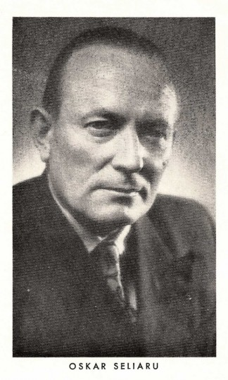 Photograph of Oskar Seliaru, taken circa 1956. The portrait was scanned from a program celebrating Seliaru's 50th birthday and 30th anniversary as an actor. The image was used frequently, appearing in various programs and newspaper articles.