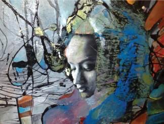 """""""Syriana"""" by Melissa Boric, 30 × 30 inches, mixed media"""