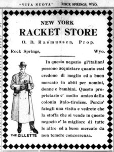 A 1909 advertisement taken from Vita Nuova, showing a man in a coat and hat. The advertisement is for the New York Racket Store in Rock Springs, Wyoming. A racket store was a variety or general merchandise store.