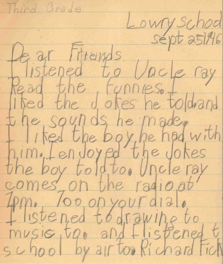 Letter from third-grader Richard Fick, 1946.