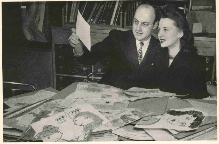 """Ken and Betty, """"Drawing to Music"""" announcers, review listener submissions, 1946."""