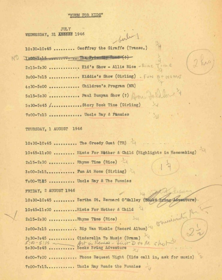 """""""KUOM for Kids"""" schedule, July 31, 1946."""