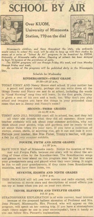 """Local newspapers, to include the Minneapolis Star in the September 3, 1946 edition, regularly published and promoted the schedule of """"School By Air"""" programs."""
