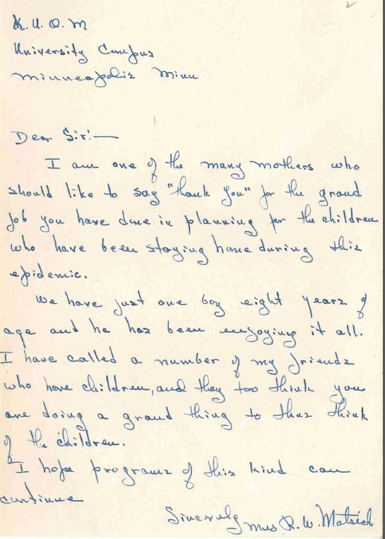 Letter received from Mrs. R.W. Motsick expressing appreciation, 1946.