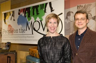 Ellen Engseth and Daniel Necas, in the People on the Move exhibit.