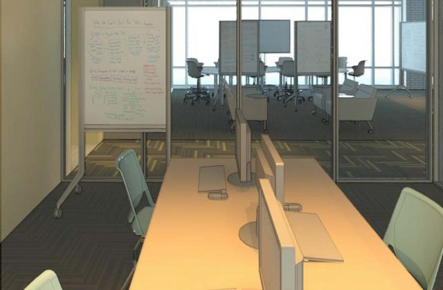 Interior view of studio study space