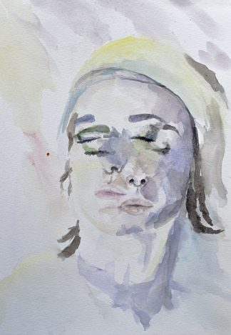 """Double Self Portrait. Watercolor, 11"""" x 14 """" (2015) by Emily Beron."""