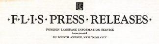 Foreign Language Information Service Press Release Letterhead
