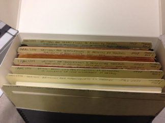 Image of an open hollinger box showing folders in the newly processed Heino Taremäe Papers.