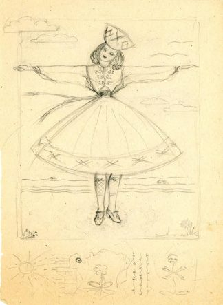 Drawing of an Estionian national costume, from the Linda Ormisson Papers