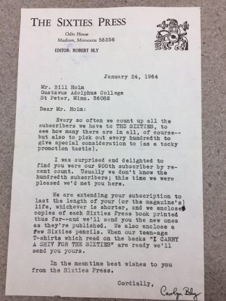Letter from Carol Bly, co-editor of The Sixties Press, to Bill Holm, written 1964. Holm was just 21 years old when he became the 900th subscriber to The Sixties Press. This letter is the first of many exchanges shared between Holm and Carol Bly.