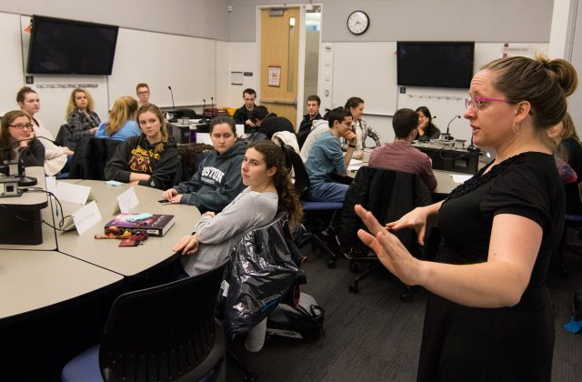 Science Librarian Meghan Lafferty teaching first-year science and engineering students.