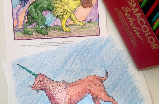 Artwork by @kaileyfukushima who tweets: We're taking a colouring break @UCalgaryLibrary Digitization to participate in #colorourcollections. Here are a couple gems from @umnlib