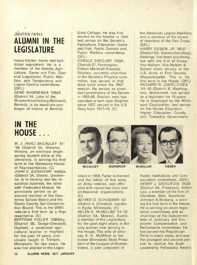 """Alumni in the Legislature,"" in the University of Minnesota Alumni magazine, 1971. Available at http://hdl.handle.net/11299/52485"