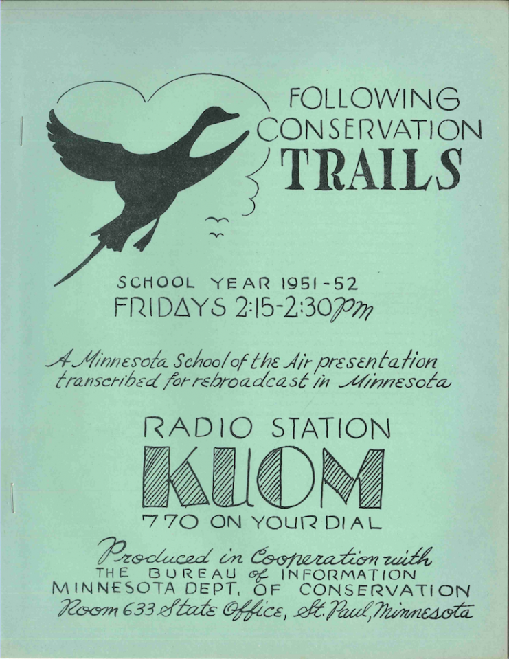 The cover of the 1951-1952 Following Conservation Trails Teachers' Manual.