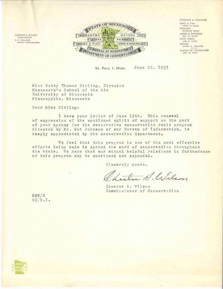 A letter to Betty T. Girling from the Commissioner of Conservation, 1953.