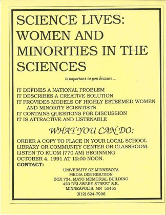 Brochure advertising Science Lives: Women and Minorities in the Sciences, encouraging schools to order the cassette package, undated.