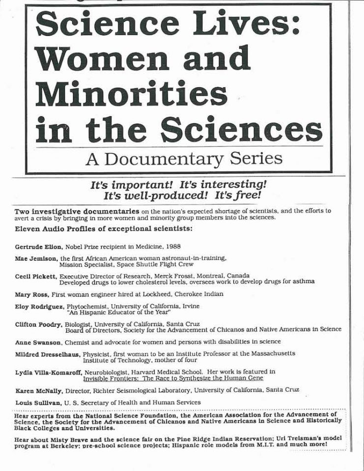 Brochure advertising Science Lives: Women and Minorities in the Sciences, detailing the contents of each program