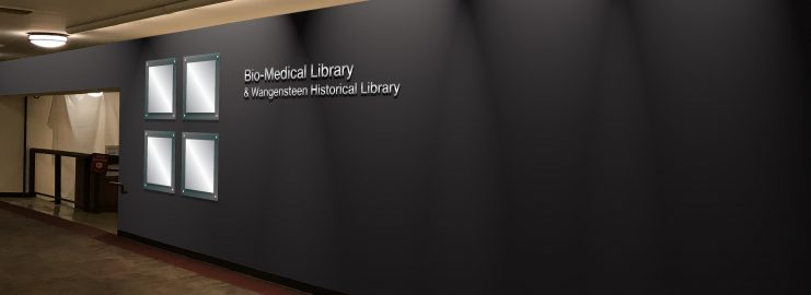 Updated entryway for the Bio-Medical Library and the Wangensteen Historical Library.
