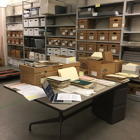 Part of Bill Holm's papers in the midst of sorting and foldering.