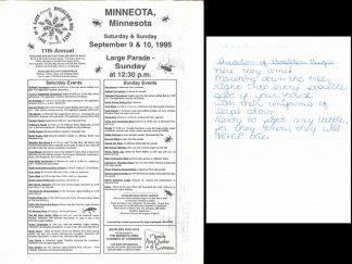 """Left: A flyer for the 1995 Boxelder Bug Days festival in Minneota, Minnesota. One of the activities was """"The Bill Holm Variety Show""""! Right: One of many write-ups about boxelder bugs that Holm collected from students and friends."""