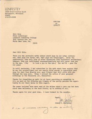 Jim Lenfestey's letter dated February 20, 1977 regarding Bill Holm's anthology of pig poems.