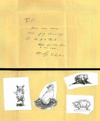 Sketches of pigs meant for use in Holm's pig poem anthology and accompanying note from Randy Scholes, who would later co-found the Minneapolis press Milkweed Editions.