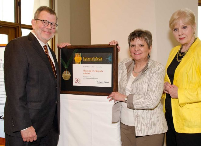 President Kaler, University Librarian Wendy Lougee, and Provost Karen Hanson