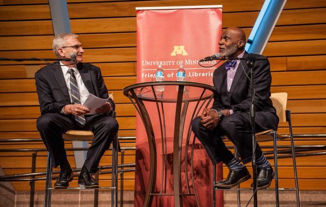 Gary Eichten and Alan Page at the Friends of the Libraries annual celebration in May 2017