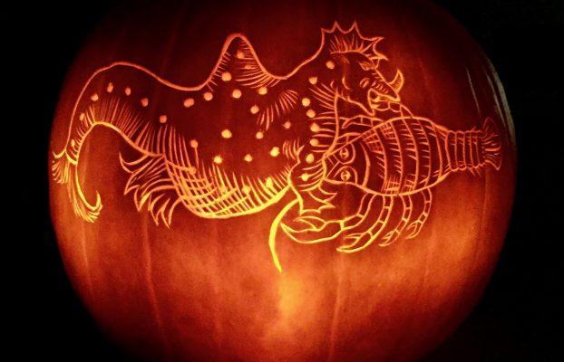 Final #UnderwaterPumpkin carved by Emily.
