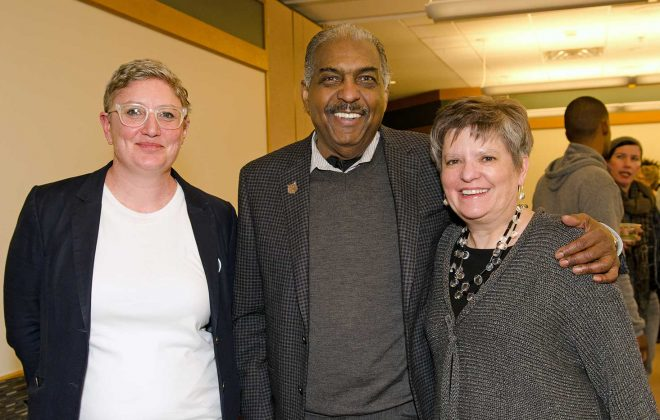 Cecily Marcus, Archie Givens, and Wendy Lougee at the Givens Collection Open House
