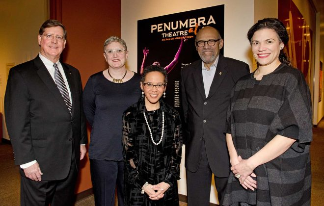The Penumbra at 40 exhibit opening reception at the Minnesota History Center with Stephen Elliott, Cecily Marcus, Phyllis Rawls Goff, Lou Bellamy, and Sarah Bellamy