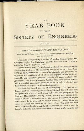 Engineers' Yearbook, 1893-1908, yearbook of activities for the University Society of Engineers; a predecessor to Technolog