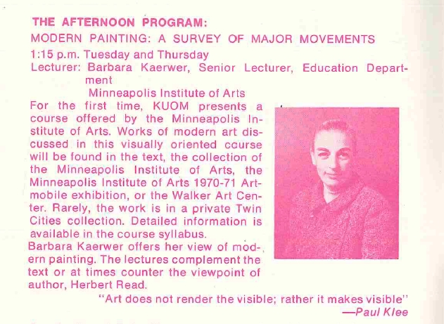 1971 Afternoon Program: Modern Painting: A Survey of Major Movements