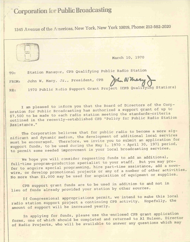 1970 Public Radio Support Grant Project award letter